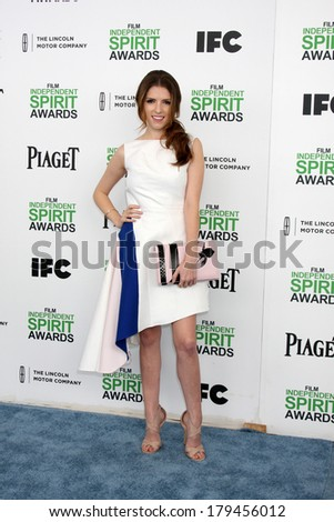 LOS ANGELES - MAR 1:  Anna Kendrick at the Film Independent Spirit Awards at Tent on the Beach on March 1, 2014 in Santa Monica, CA - stock photo