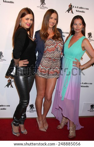 LOS ANGELES - MAR 31:  Anna Trebunskaya, Edyta Sliwinska, Elena Grinenko at the LA Ballroom Studio Grand Opening at LA Dance Studio on March 31, 2014 in Sherman Oaks, CA - stock photo