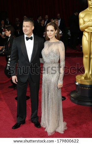 LOS ANGELES - MAR 2:: Brad Pitt, Angelina Jolie  at the 86th Annual Academy Awards at Hollywood & Highland Center on March 2, 2014 in Los Angeles, California - stock photo
