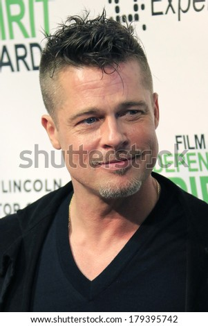 LOS ANGELES - MAR 1:  Brad Pitt at the Film Independent Spirit Awards at Tent on the Beach on March 1, 2014 in Santa Monica, CA - stock photo