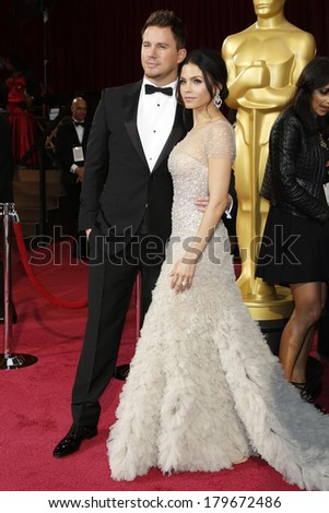 LOS ANGELES - MAR 2:  Channing Tatum, Jenna Dewan at the 86th Academy Awards at Dolby Theater, Hollywood & Highland on March 2, 2014 in Los Angeles, CA - stock photo
