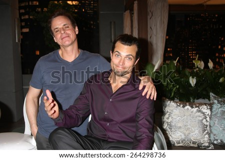 LOS ANGELES - MAR 26:  Christian LeBlanc, Scott Elrod at the Young & Restless 42nd Anniversary Celebration at the CBS Television City on March 26, 2015 in Los Angeles, CA - stock photo