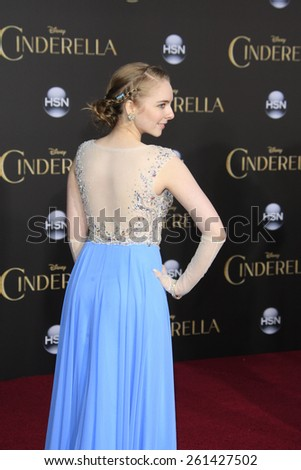 LOS ANGELES - MAR 1: Darcy Rose Byrnes at the World Premiere of 'Cinderella' at the El Capitan Theater on March 1, 2015 in Hollywood, Los Angeles, California - stock photo