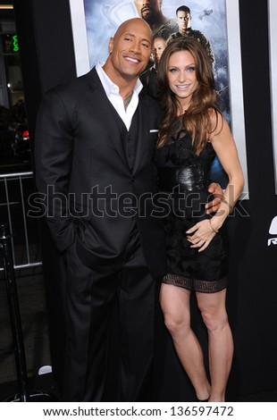 "LOS ANGELES - MAR 28:  Dwayne Johnson & Lauren Hashian arrives to the ""G.I. Joe: Retaliation"" Los Angeles Premiere  on March 28, 2013 in Hollywood, CA."