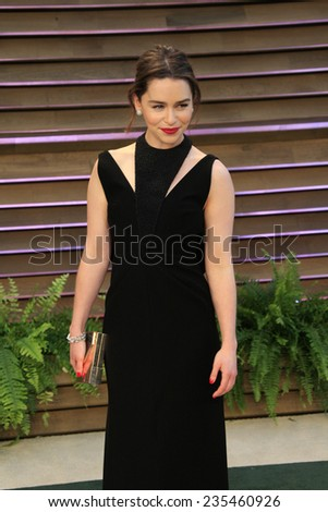 LOS ANGELES - MAR 2:  Emilia Clarke at the 2014 Vanity Fair Oscar Party at the Sunset Boulevard on March 2, 2014 in West Hollywood, CA - stock photo