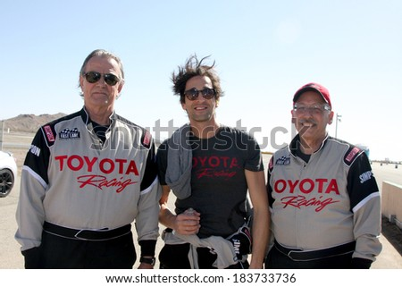 LOS ANGELES - MAR 15:  Eric Braeden, Adrien Brody, Dr. William Pinsky at the Toyota Grand Prix of LB Pro-Celebrity Race Training at Willow Springs Speedway on March 15, 2014 in Rosamond, CA - stock photo