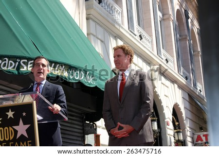 LOS ANGELES - MAR 24:  Eric Garcetti, Will Ferrell at the Will Ferrell Hollywood Walk of Fame Star Ceremony at the Hollywood Boulevard on March 24, 2015 in Los Angeles, CA - stock photo