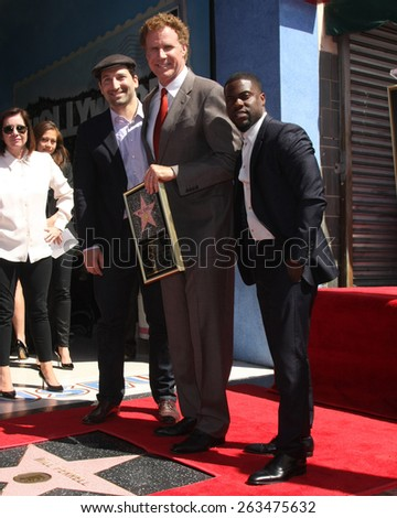 LOS ANGELES - MAR 24:  Etan Cohen, Will Ferrell, Kevin Hart at the Will Ferrell Hollywood Walk of Fame Star Ceremony at the Hollywood Boulevard on March 24, 2015 in Los Angeles, CA - stock photo