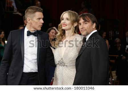 LOS ANGELES - MAR 2:: Ethan Hawke, Julie Delpy, Richard Linklater at the 86th Annual Academy Awards at Hollywood & Highland Center on March 2, 2014 in Los Angeles, California - stock photo