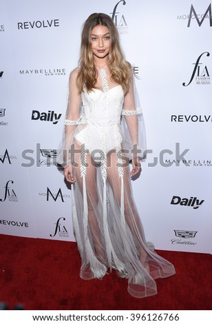 LOS ANGELES - MAR 20:  Gigi Hadid arrives to the 2nd Annual Fashion Los Angeles Awards  on March 20, 2016 in Hollywood, CA.                 - stock photo