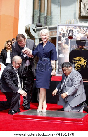 LOS ANGELES - MAR 28:  Helen Mirren at a ceremony where Helen Mirren is honored with hand and footprints at the Grauman's Chinese Theater, Hollywood in Los Angeles, California on March 28, 2011.
