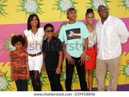 LOS ANGELES - MAR 23 - Holly Robinson Peete and family arrives at the Nickelodeons 2013 Kids Choice Awards on March 23,  2013 in Los Angeles, CA              - stock photo