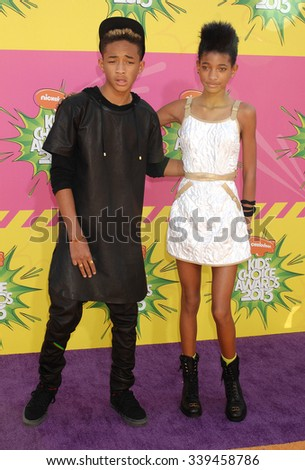 LOS ANGELES - MAR 23 - Jaden Smith and sister Willow Smith arrives at the Nickelodeons 2013 Kids Choice Awards on March 23,  2013 in Los Angeles, CA              - stock photo
