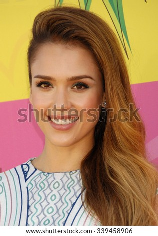 LOS ANGELES - MAR 23 - Jessica Alba arrives at the Nickelodeons 2013 Kids Choice Awards on March 23,  2013 in Los Angeles, CA              - stock photo