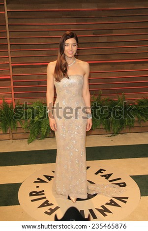 LOS ANGELES - MAR 2:  Jessica Biel at the 2014 Vanity Fair Oscar Party at the Sunset Boulevard on March 2, 2014 in West Hollywood, CA - stock photo