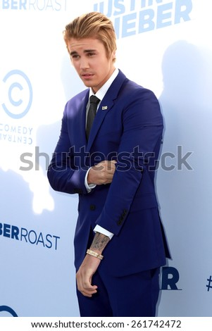 LOS ANGELES - MAR 14:  Justin Bieber at the Comedy Central Roast of Justin Bieber at the Sony Pictures Studios on March 14, 2015 in Culver City, CA - stock photo