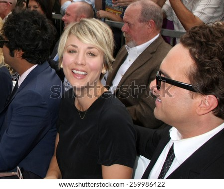 LOS ANGELES - MAR 11:  Kaley Cuoco-Sweeting, Johnny Galecki at the Jim Parsons Hollywood Walk of Fame Ceremony at the Hollywood Boulevard on March 11, 2015 in Los Angeles, CA - stock photo