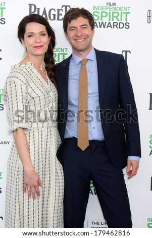 LOS ANGELES - MAR 1:  Katie Aselton, Mark Duplass at the Film Independent Spirit Awards at Tent on the Beach on March 1, 2014 in Santa Monica, CA