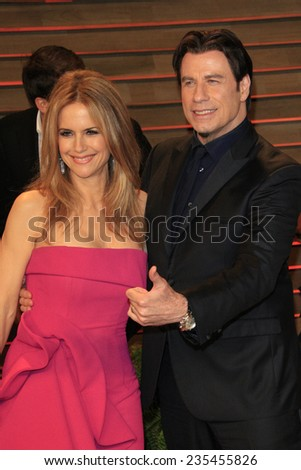 LOS ANGELES - MAR 2:  Kelly Preston, John Travolta at the 2014 Vanity Fair Oscar Party at the Sunset Boulevard on March 2, 2014 in West Hollywood, CA - stock photo