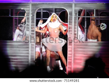 LOS ANGELES - MAR 28:  Lady Gaga Performs at Staples Center on March 28,2011 in Hollywood, CA - stock photo