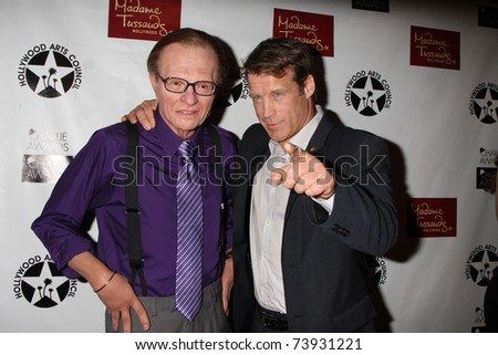 LOS ANGELES - MAR 25:  Larry King Wax figure with Mark Valley at the Charlie Awards at Hollywood Roosevelt Hotel on March 25, 2011 in Los Angeles, CA - stock photo