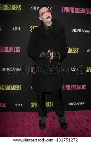 "LOS ANGELES - MAR 14:  Marilyn Manson arrives at the 'Spring Breakers"" Premiere at the Arclight, Hollywood on March 14, 2013 in Los Angeles, CA - stock photo"