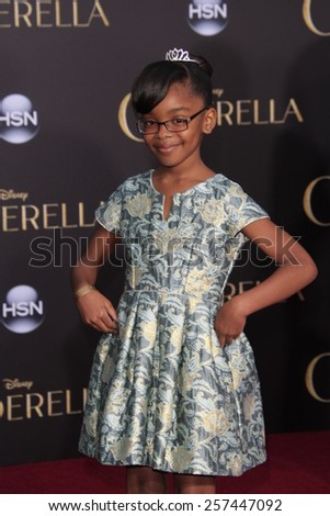 """LOS ANGELES - MAR 1:  Marsai Martin at the """"Cinderella"""" World Premiere at the El Capitan Theater on March 1, 2015 in Los Angeles, CA - stock photo"""