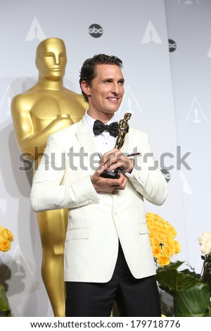 LOS ANGELES - MAR 2:  Matthew McConaughey at the 86th Academy Awards at Dolby Theater, Hollywood & Highland on March 2, 2014 in Los Angeles, CA - stock photo