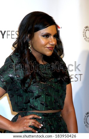 LOS ANGELES - MAR 25:  Mindy Kaling at the PaleyFEST - The Mindy Project at Dolby Theater on March 25, 2014 in Los Angeles, CA