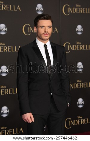 """LOS ANGELES - MAR 1:  Richard Madden at the """"Cinderella"""" World Premiere at the El Capitan Theater on March 1, 2015 in Los Angeles, CA - stock photo"""