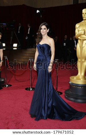 LOS ANGELES - MAR 2:  Sandra Bullock at the 86th Academy Awards at Dolby Theater, Hollywood & Highland on March 2, 2014 in Los Angeles, CA - stock photo