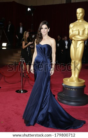 LOS ANGELES - MAR 2:: Sandra Bullock  at the 86th Annual Academy Awards at Hollywood & Highland Center on March 2, 2014 in Los Angeles, California - stock photo