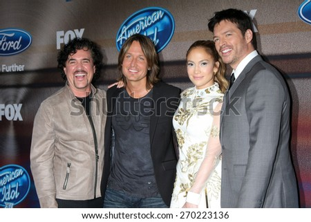 "LOS ANGELES - MAR 11: Scott Borchetta, Keith Urban, Jennifer Lopez, Harry Connick Jr. at the ""American Idol Season 14"" Finalist Party at The District Resturant on March 11, 2015 in Los Angeles, CA  - stock photo"