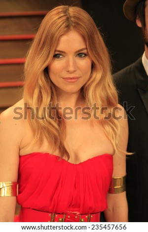 LOS ANGELES - MAR 2:  Sienna Miller at the 2014 Vanity Fair Oscar Party at the Sunset Boulevard on March 2, 2014 in West Hollywood, CA - stock photo