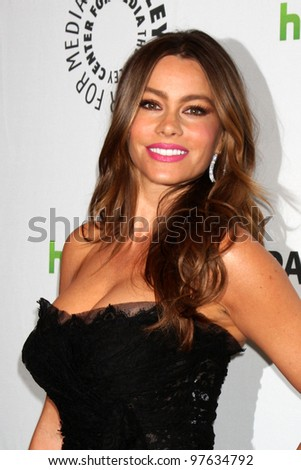 """LOS ANGELES - MAR 14:  Sofia Vergara arrives at the """"Modern Family"""" PaleyFest Event at the Saban Theater on March 14, 2012 in Los Angeles, CA - stock photo"""