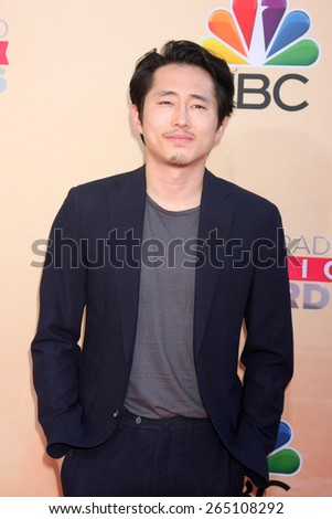 LOS ANGELES - MAR 29:  Steven Yeun at the 2015 iHeartRadio Music Awards at the Shrine Auditorium on March 29, 2015 in Los Angeles, CA - stock photo