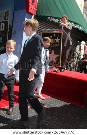 LOS ANGELES - MAR 24:  Will Ferrell, sons at the Will Ferrell Hollywood Walk of Fame Star Ceremony at the Hollywood Boulevard on March 24, 2015 in Los Angeles, CA - stock photo