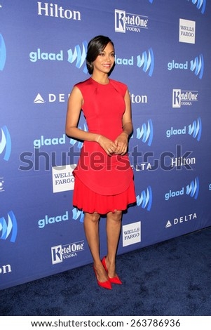 LOS ANGELES - MAR 21:  Zoe Saldana at the 26th Annual GLAAD Media Awards at the Beverly Hilton Hotel on March 21, 2015 in Beverly Hills, CA - stock photo