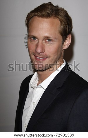 LOS ANGELES - MARCH 5:  Alexander Skarsgard arrives at the Paleyfest 2011 presents 'True Blood' held at the Saban Theatre on March 5, 2011 in Beverly Hills, CA - stock photo