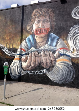 LOS ANGELES - 23 MARCH 2015: Big Wall Graffiti In Memory of Armenian Genocide Victims on March 23 in Los Angeles, CA. Artist ViaArtVia. - stock photo