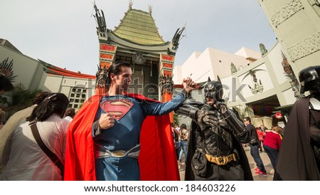 LOS ANGELES - MARCH 29: TCL Batman V Superman at Chinese Theatre in Los Angeles. TCL Chinese Theatre is a cinema on the historic Hollywood Walk of Fame at 6925 Hollywood Boulevard in Hollywood.  - stock photo