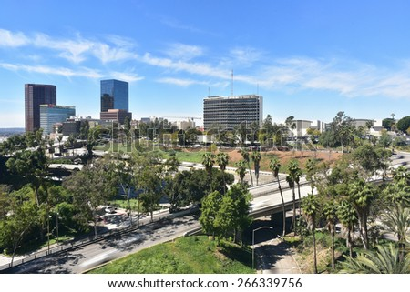 LOS ANGELES - MARCH 13, 2015: View of Figueroa Street in Downtown LA as on March 13, 2015 in Los Angeles, US. Figueroa Street is one of the famous & busiest streets in down town LA.