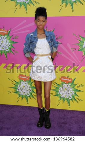 LOS ANGELES - MARCH 23:  Willow Smith arrives to the Kid's Choice Awards 2013  on March 23, 2013 in Los Angeles, CA. - stock photo