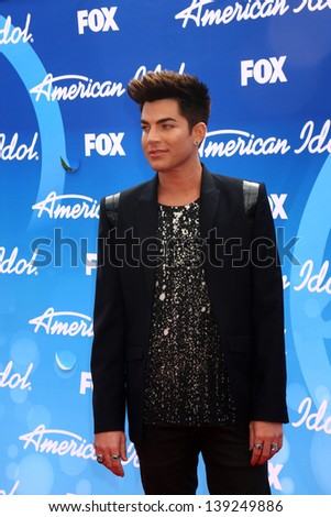 LOS ANGELES - MAY 16:  Adam Lambert arrives at the American Idol Season 12 Finale at the Nokia Theater at LA Live on May 16, 2013 in Los Angeles, CA