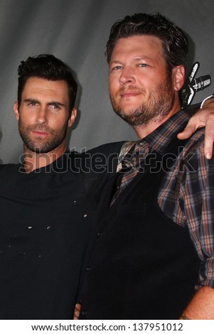 """LOS ANGELES - MAY 8:  Adam Levine, Blake Shelton arrives at """"The Voice"""" Season 4 Top 12 Event at the House of Blues on May 8, 2013 in West Hollywood, CA - stock photo"""