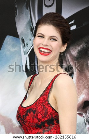 "LOS ANGELES - MAY 26:  Alexandra Daddario at the ""San Andreas"" World Premiere at the TCL Chinese Theater IMAX on May 26, 2015 in Los Angeles, CA - stock photo"