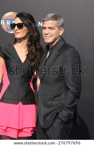 "LOS ANGELES - MAY 9:  Amal Alamuddin Clooney, George Clooney at the ""Tomorrowland"" Premiere at the AMC Downtown Disney on May 9, 2015 in Lake Buena Vista, CA - stock photo"