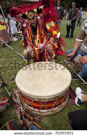 LOS ANGELES - MAY 2: American Indians drumming at the 24th Annual UCLA Pow Wow on May 2, 2009 in Los Angeles. - stock photo