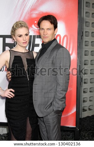 """LOS ANGELES - MAY 30:  Anna Paquin, Stephen Moyer arrives at the """"True Blood"""" 5th Season Premiere at Cinerama Dome Theater on May 30, 2012 in Los Angeles, CA - stock photo"""