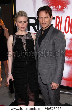 """LOS ANGELES - MAY 30:  ANNA PAQUIN & STEPHEN MOYER arrives to """"True Blood"""" Season 5 Premiere  on May 30, 2012 in Hollywood, CA                 - stock photo"""
